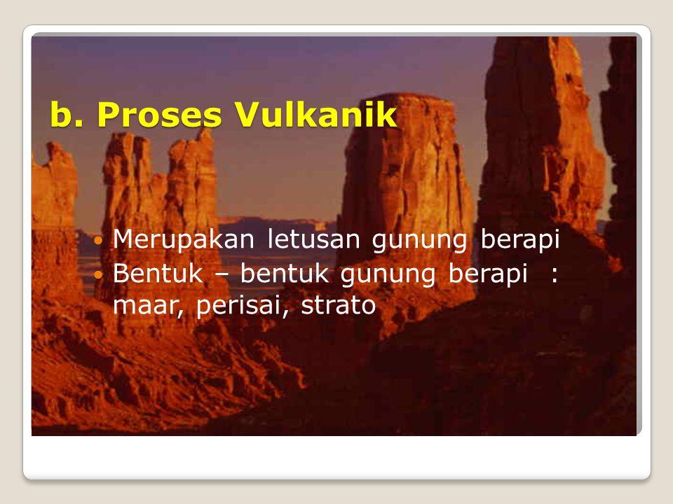 b. Proses Vulkanik Merupakan letusan gunung berapi