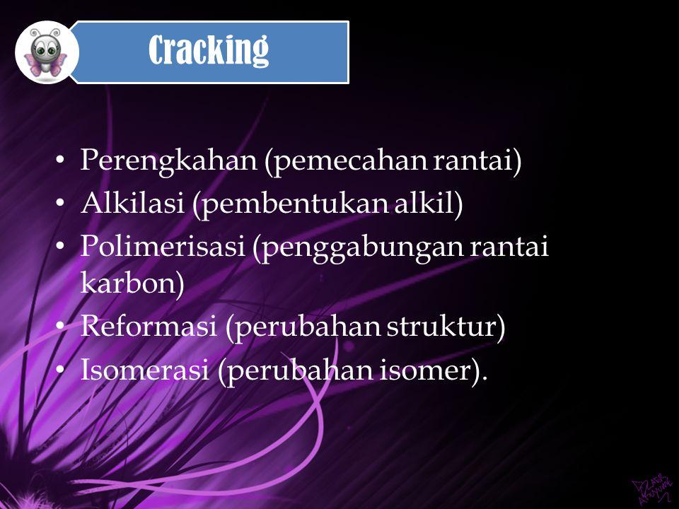 Cracking Perengkahan (pemecahan rantai) Alkilasi (pembentukan alkil)