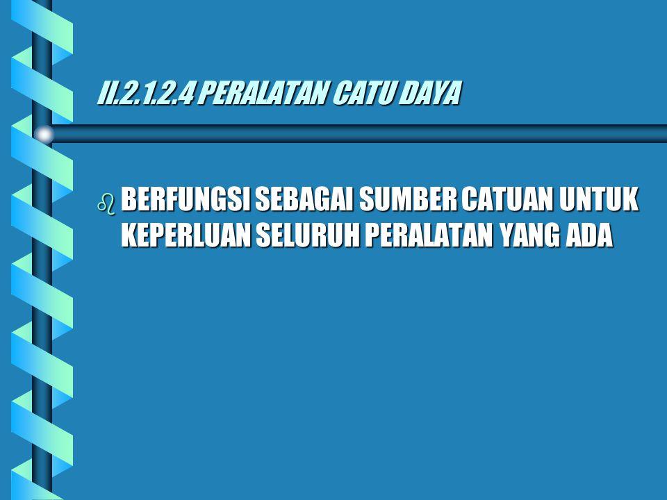 II.2.1.2.4 PERALATAN CATU DAYA BERFUNGSI SEBAGAI SUMBER CATUAN UNTUK KEPERLUAN SELURUH PERALATAN YANG ADA.