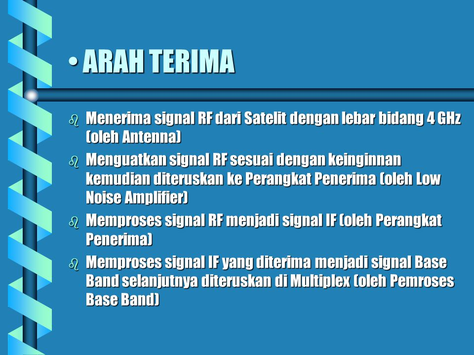 ARAH TERIMA Menerima signal RF dari Satelit dengan lebar bidang 4 GHz (oleh Antenna)