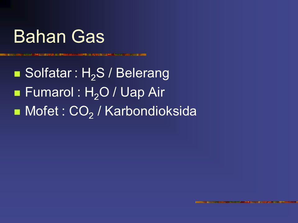 Bahan Gas Solfatar : H2S / Belerang Fumarol : H2O / Uap Air