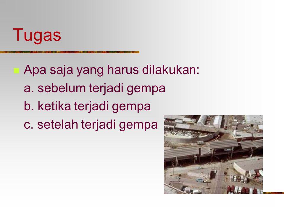 Tugas Apa saja yang harus dilakukan: a. sebelum terjadi gempa