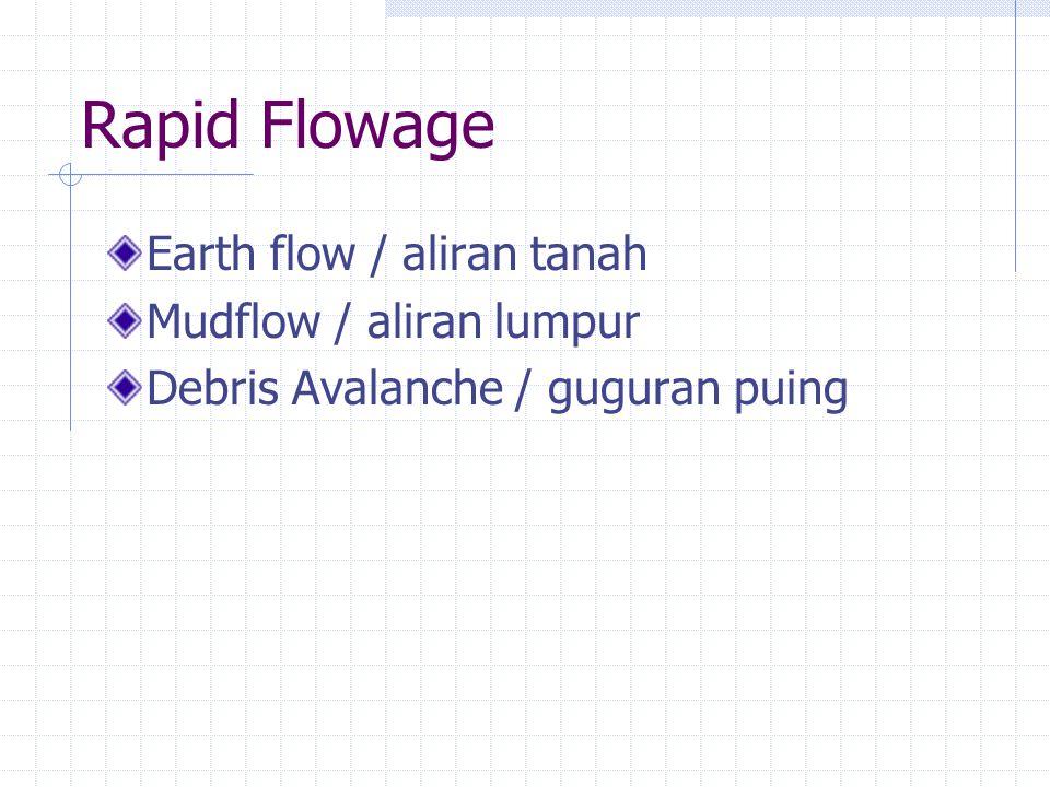 Rapid Flowage Earth flow / aliran tanah Mudflow / aliran lumpur