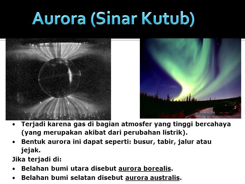 Aurora (Sinar Kutub) Terjadi karena gas di bagian atmosfer yang tinggi bercahaya (yang merupakan akibat dari perubahan listrik).