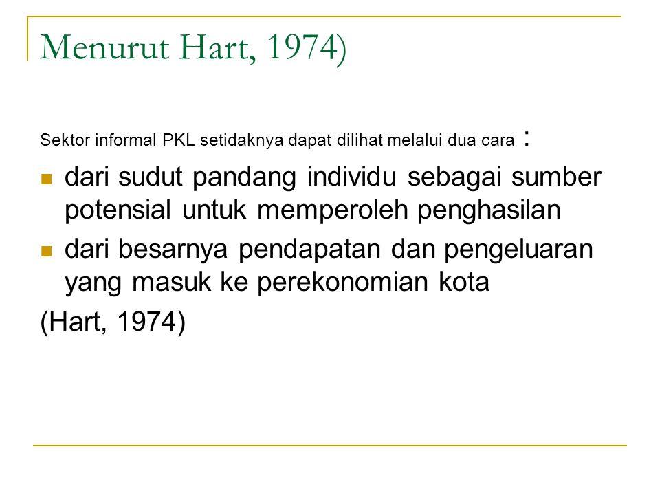Menurut Hart, 1974) Sektor informal PKL setidaknya dapat dilihat melalui dua cara :