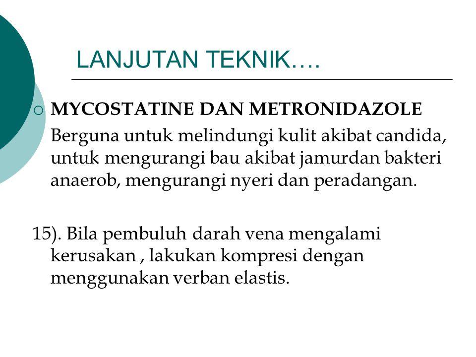LANJUTAN TEKNIK…. MYCOSTATINE DAN METRONIDAZOLE