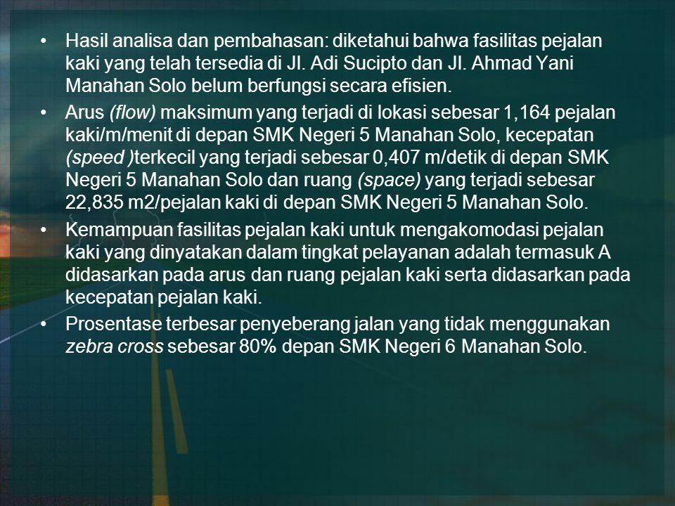 Hasil analisa dan pembahasan: diketahui bahwa fasilitas pejalan kaki yang telah tersedia di Jl. Adi Sucipto dan Jl. Ahmad Yani Manahan Solo belum berfungsi secara efisien.