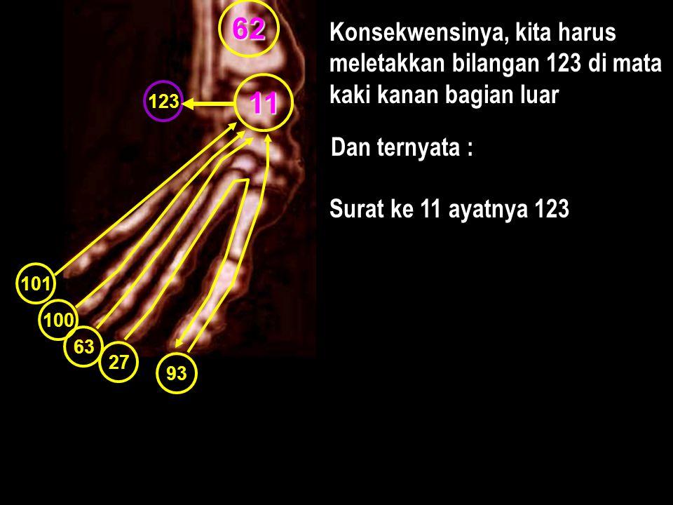 62 Konsekwensinya, kita harus meletakkan bilangan 123 di mata kaki kanan bagian luar. 11. 123. Dan ternyata :