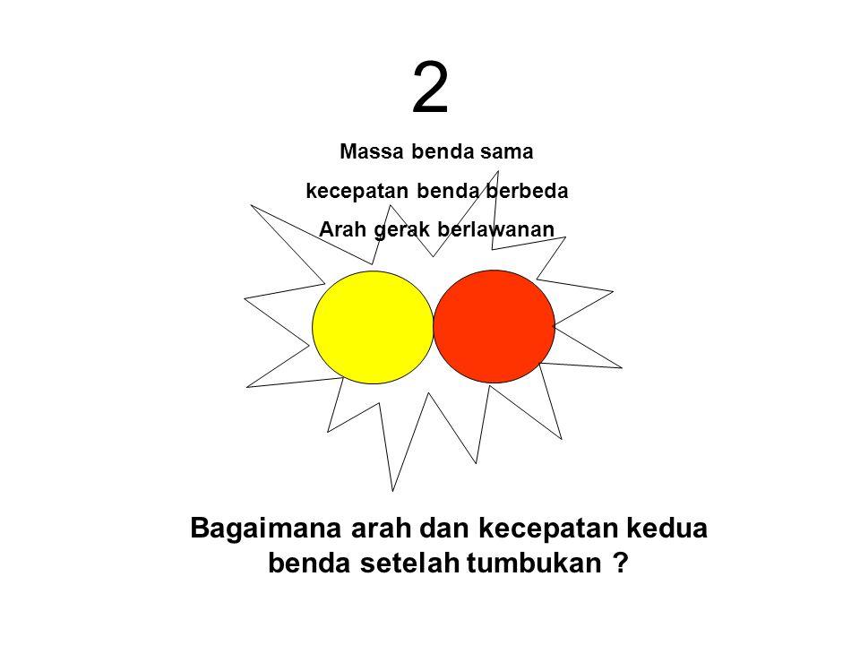 2 Bagaimana arah dan kecepatan kedua benda setelah tumbukan