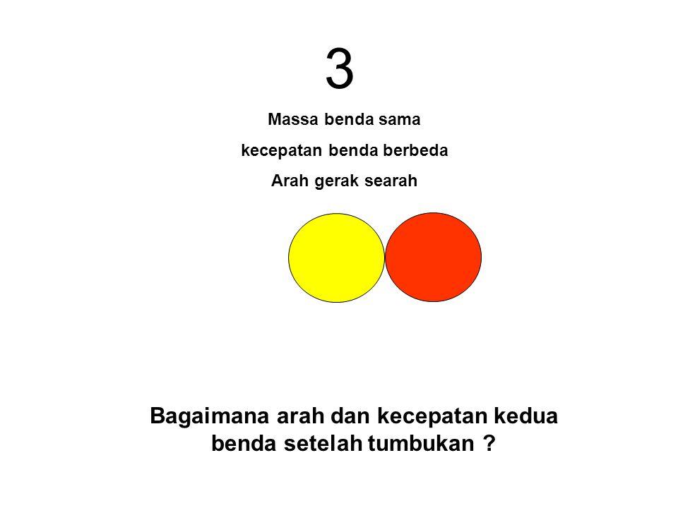 3 Bagaimana arah dan kecepatan kedua benda setelah tumbukan