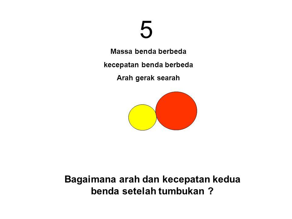 5 Bagaimana arah dan kecepatan kedua benda setelah tumbukan