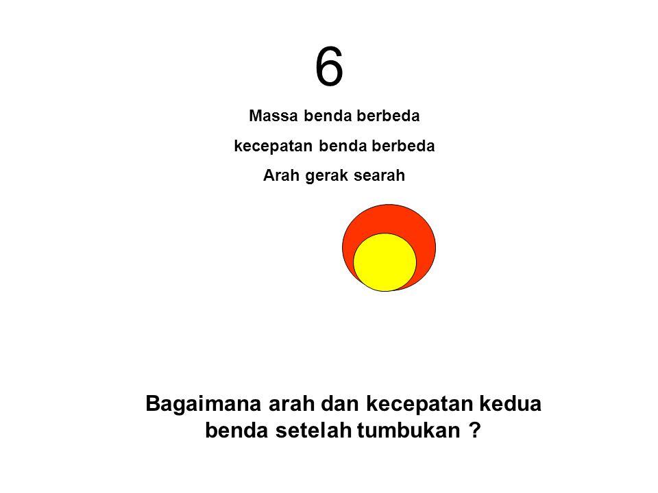 6 Bagaimana arah dan kecepatan kedua benda setelah tumbukan