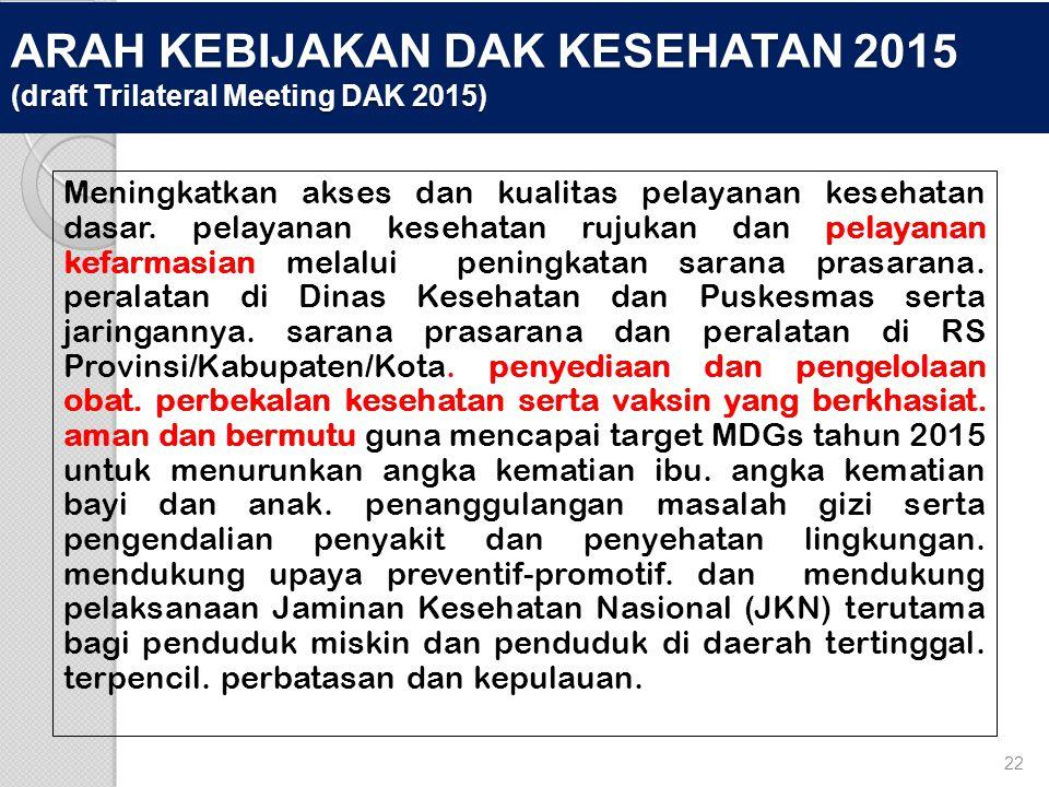 ARAH KEBIJAKAN DAK KESEHATAN 2015 (draft Trilateral Meeting DAK 2015)