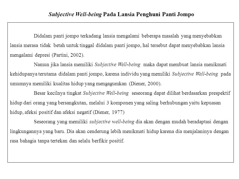 Subjective Well-being Pada Lansia Penghuni Panti Jompo