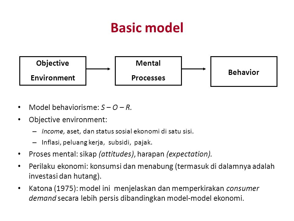 Basic model Objective Environment Mental Processes Behavior