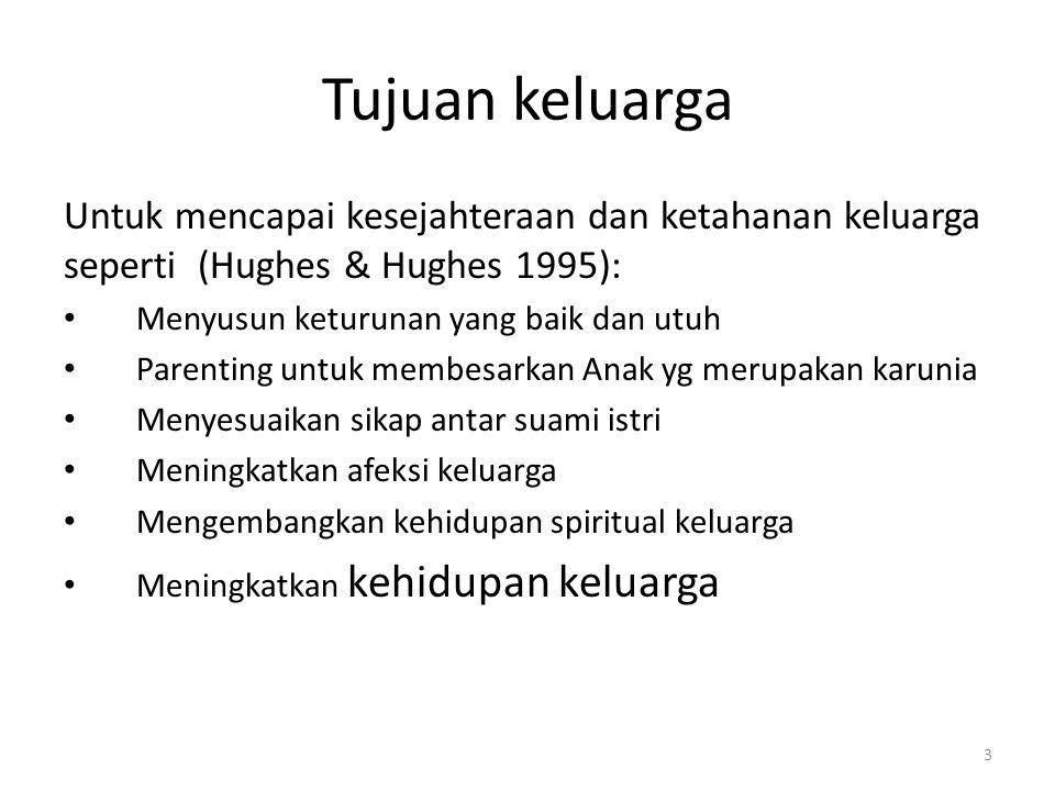 Tujuan keluarga Untuk mencapai kesejahteraan dan ketahanan keluarga seperti (Hughes & Hughes 1995):