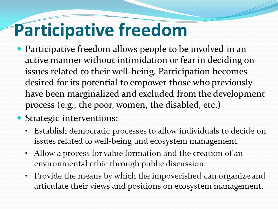 Participative freedom