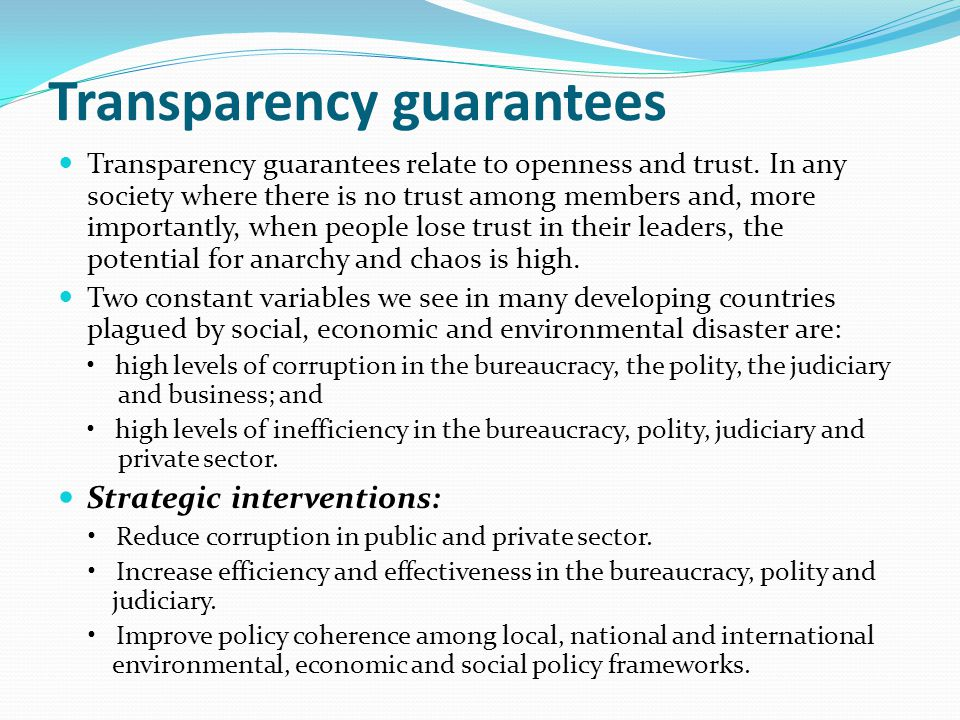 Transparency guarantees