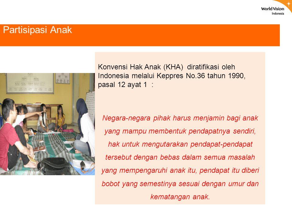 Partisipasi Anak Konvensi Hak Anak (KHA) diratifikasi oleh Indonesia melalui Keppres No.36 tahun 1990, pasal 12 ayat 1 :