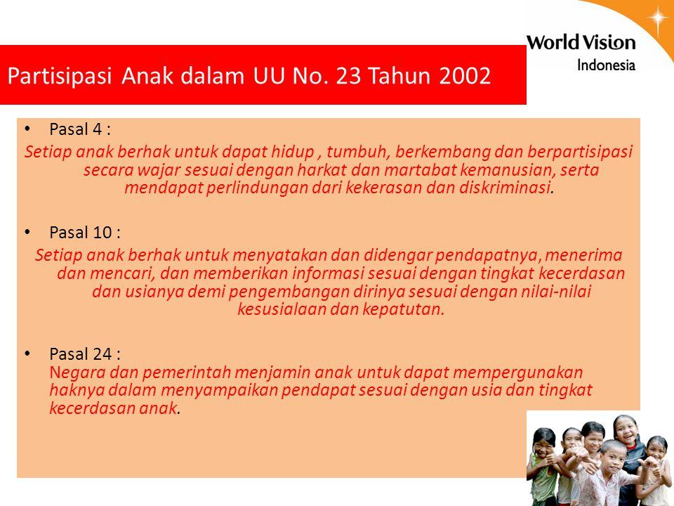 Partisipasi Anak dalam UU No. 23 Tahun 2002