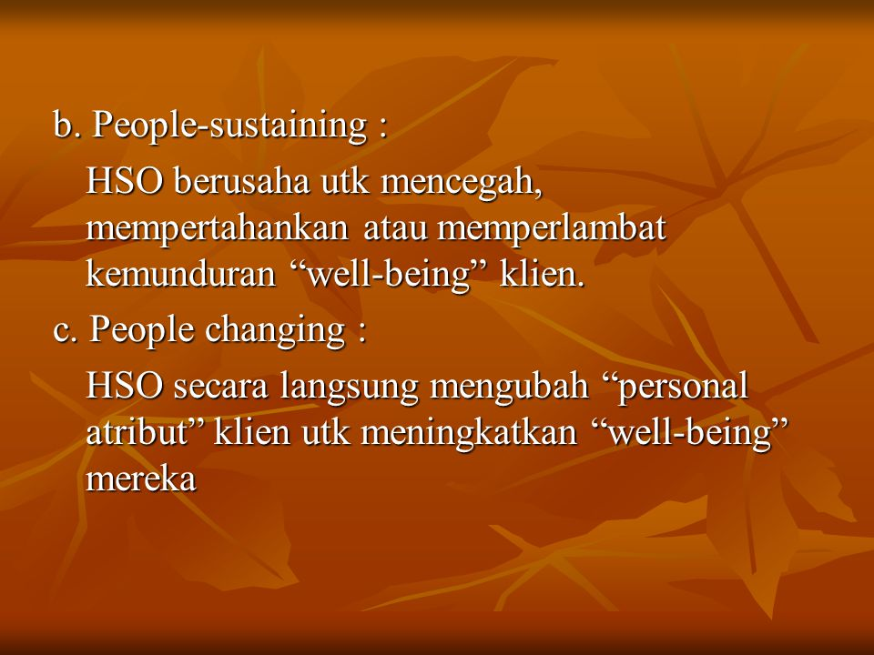 b. People-sustaining : HSO berusaha utk mencegah, mempertahankan atau memperlambat kemunduran well-being klien.