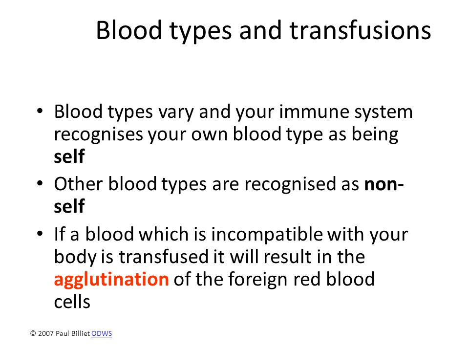 Blood types and transfusions