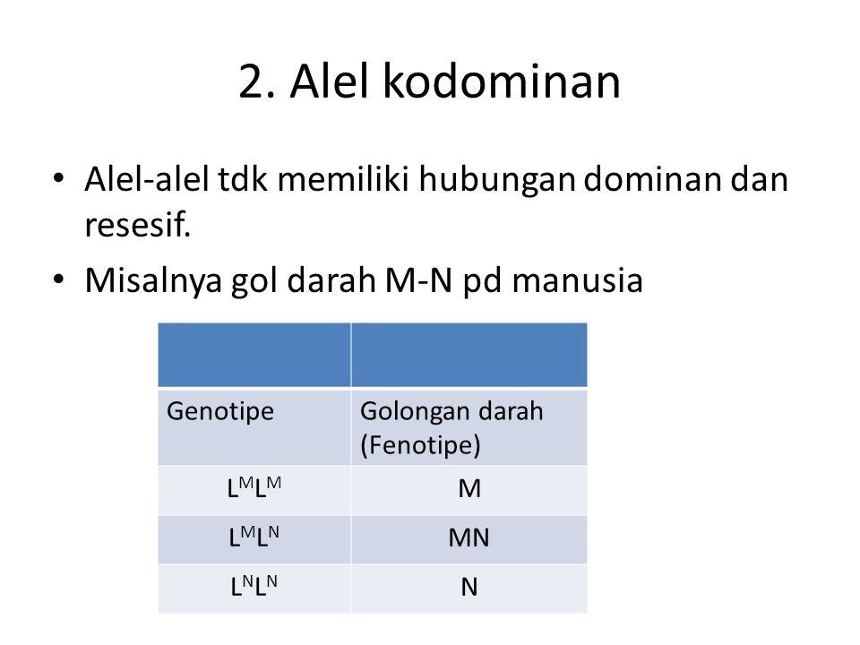 2. Alel kodominan Alel-alel tdk memiliki hubungan dominan dan resesif.