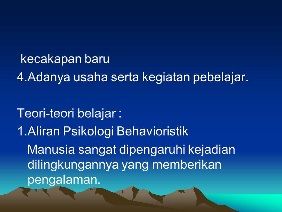 kecakapan baru 4.Adanya usaha serta kegiatan pebelajar. Teori-teori belajar : 1.Aliran Psikologi Behavioristik.