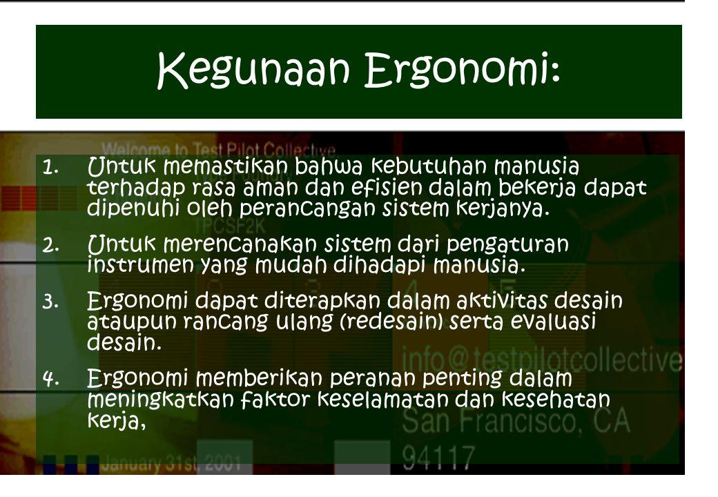 Kegunaan Ergonomi: