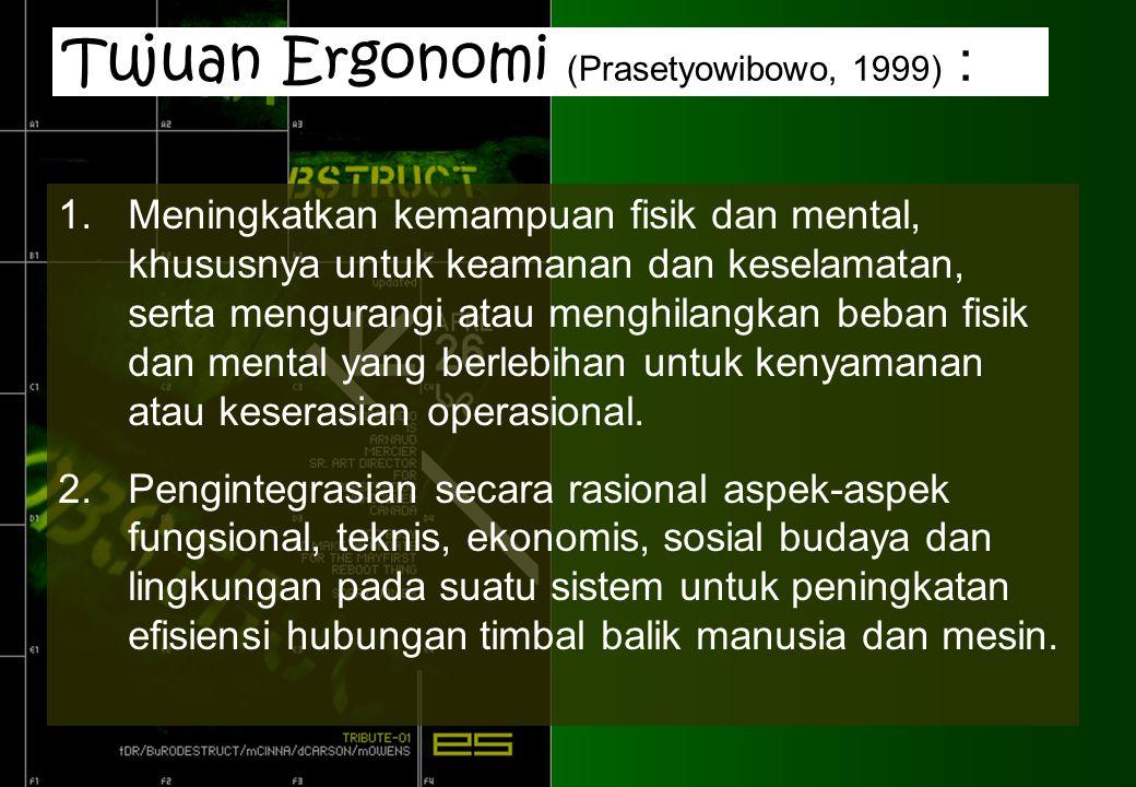 Tujuan Ergonomi (Prasetyowibowo, 1999) :