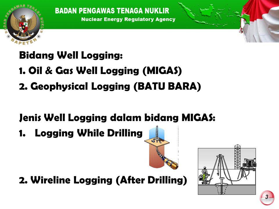 Bidang Well Logging: 1. Oil & Gas Well Logging (MIGAS) 2. Geophysical Logging (BATU BARA) Jenis Well Logging dalam bidang MIGAS: