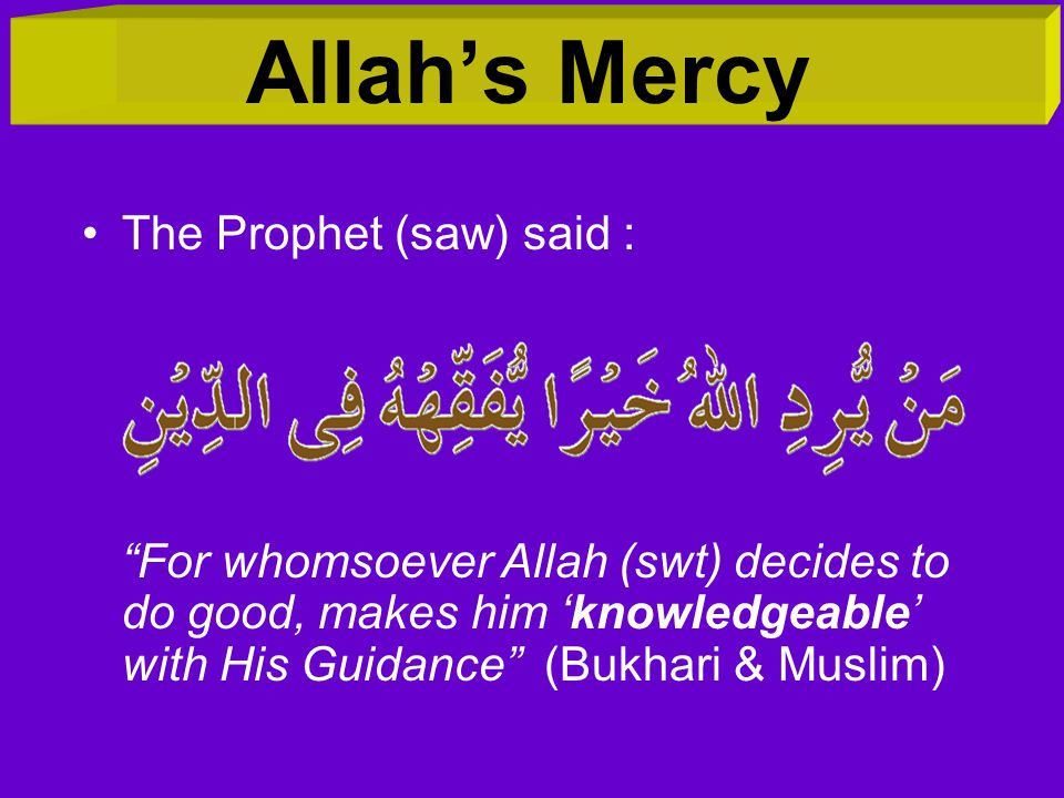 Allah's Mercy The Prophet (saw) said :