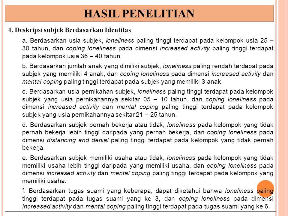 HASIL PENELITIAN 4. Deskripsi subjek Berdasarkan Identitas