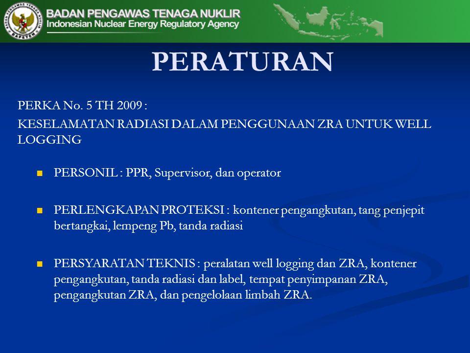 PERATURAN PERKA No. 5 TH 2009 : KESELAMATAN RADIASI DALAM PENGGUNAAN ZRA UNTUK WELL LOGGING. PERSONIL : PPR, Supervisor, dan operator.