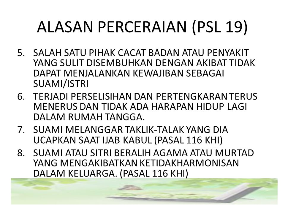 ALASAN PERCERAIAN (PSL 19)