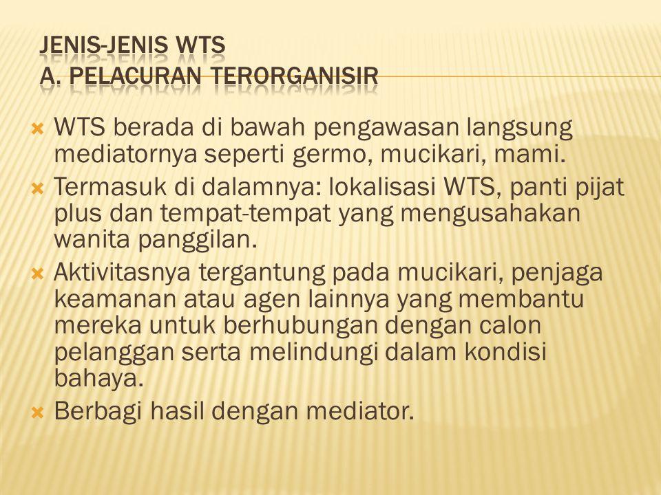 JENIS-JENIS WTS A. PELACURAN TERORGANISIR