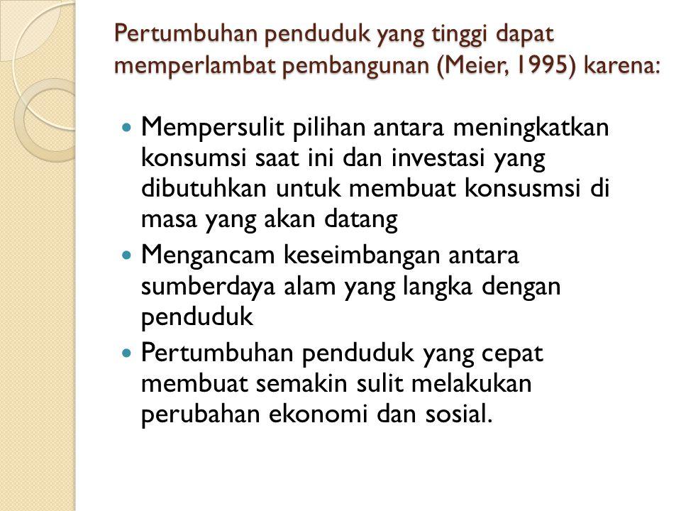 Pertumbuhan penduduk yang tinggi dapat memperlambat pembangunan (Meier, 1995) karena: