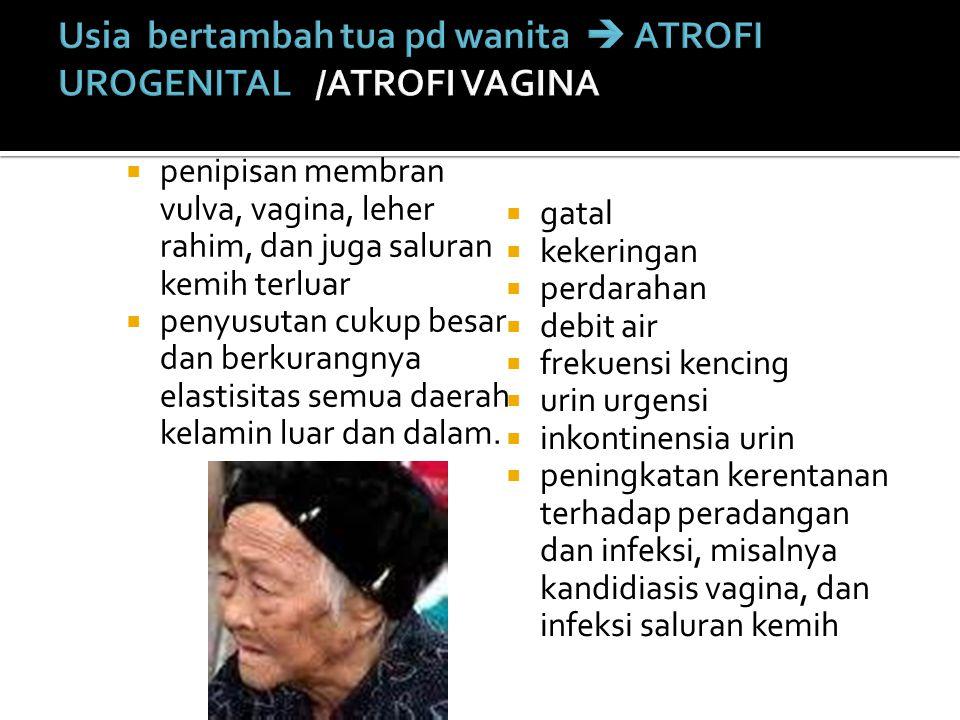 Usia bertambah tua pd wanita  ATROFI UROGENITAL /ATROFI VAGINA