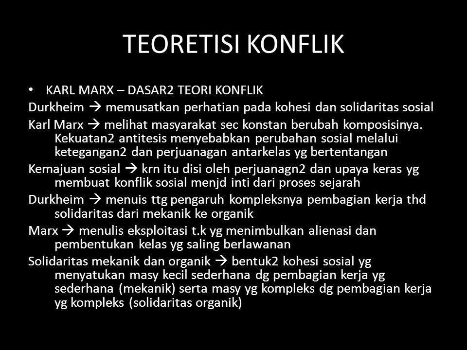 TEORETISI KONFLIK KARL MARX – DASAR2 TEORI KONFLIK