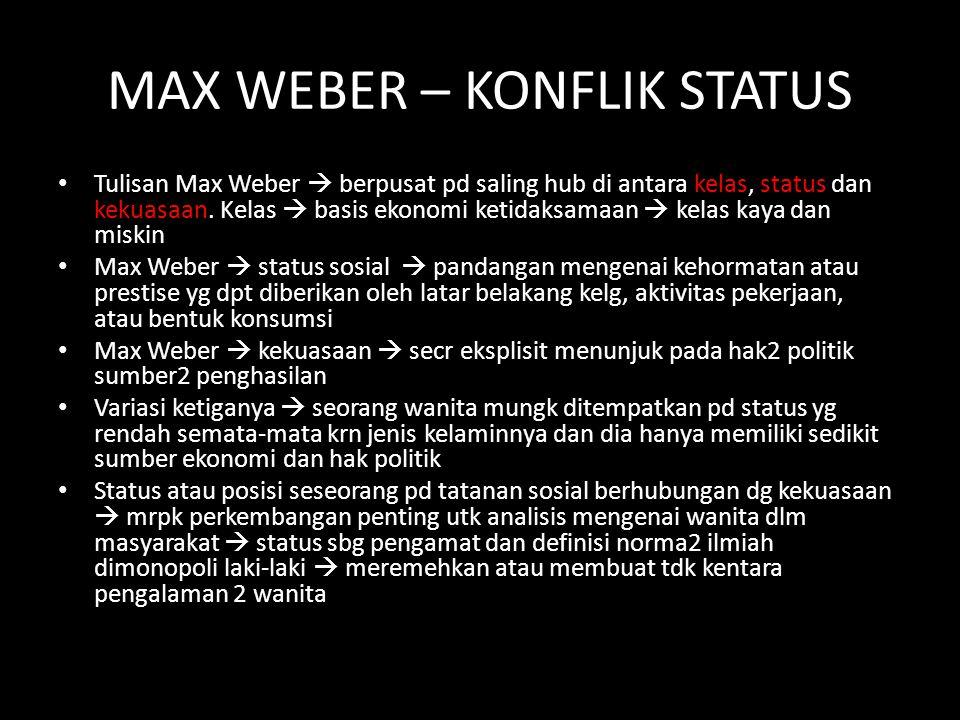 MAX WEBER – KONFLIK STATUS