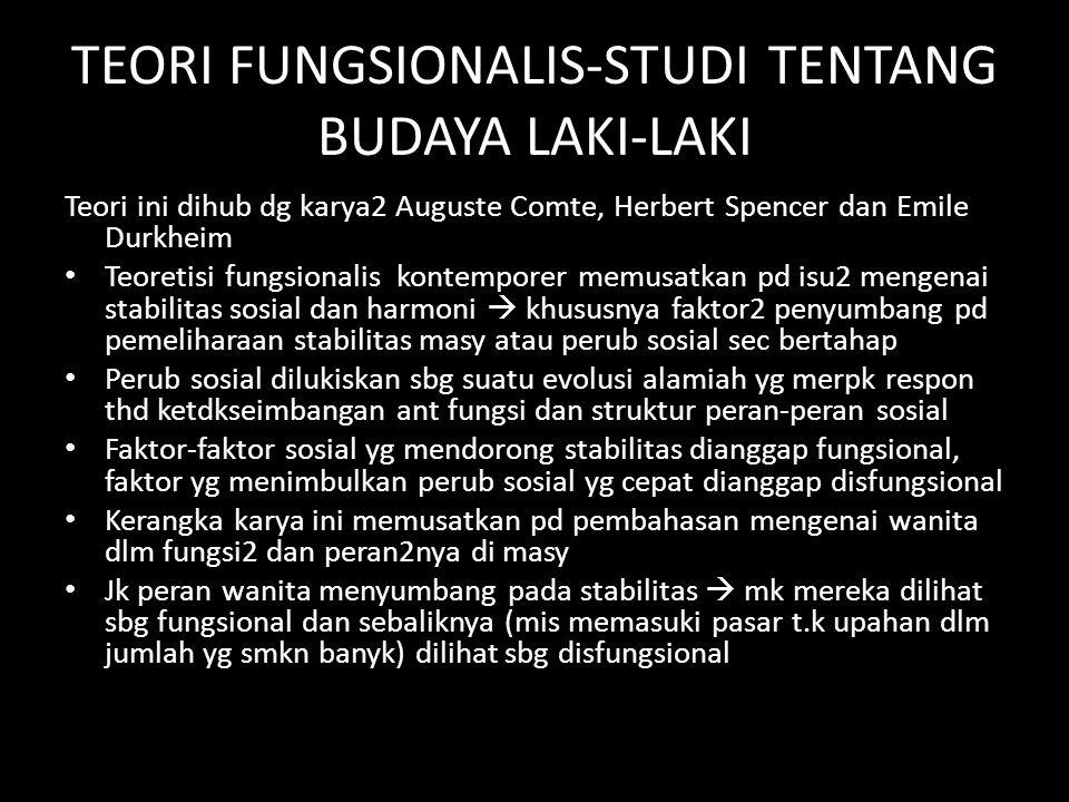 TEORI FUNGSIONALIS-STUDI TENTANG BUDAYA LAKI-LAKI