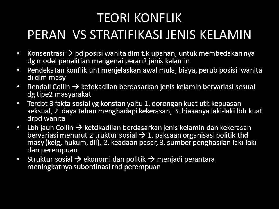 TEORI KONFLIK PERAN VS STRATIFIKASI JENIS KELAMIN