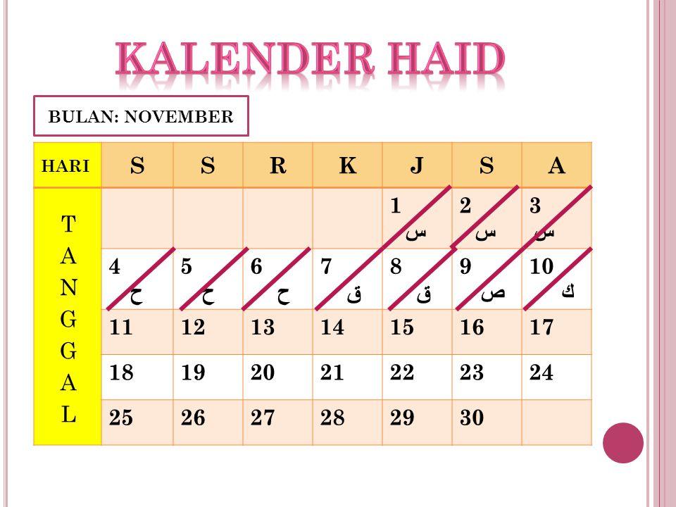 Kalender haid S R K J A TANGGAL 1 س 2 3 4 ح 5 6 7 ق 8 9 ص 10 ك 11 12