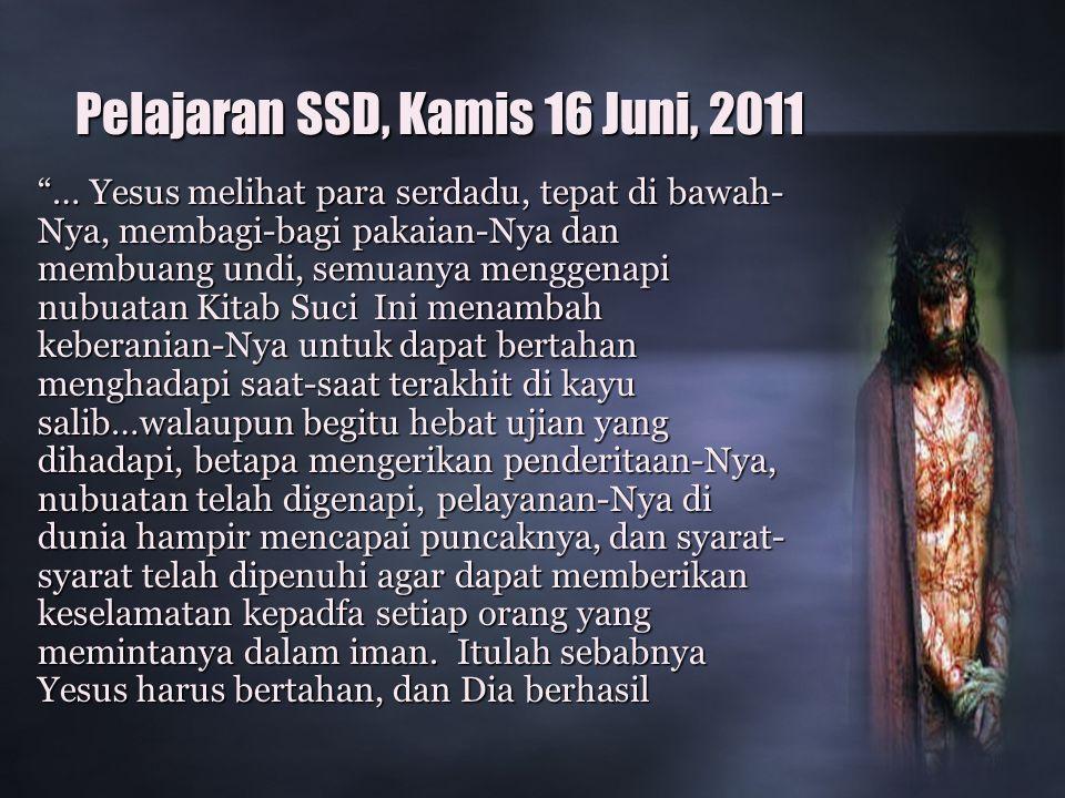 Pelajaran SSD, Kamis 16 Juni, 2011