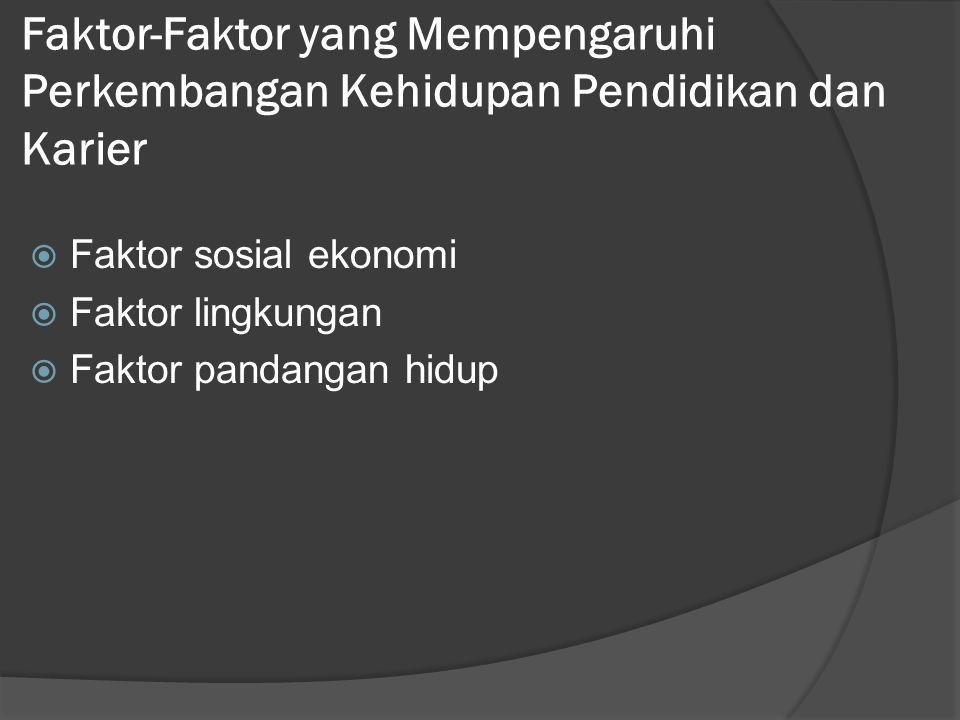 Faktor-Faktor yang Mempengaruhi Perkembangan Kehidupan Pendidikan dan Karier