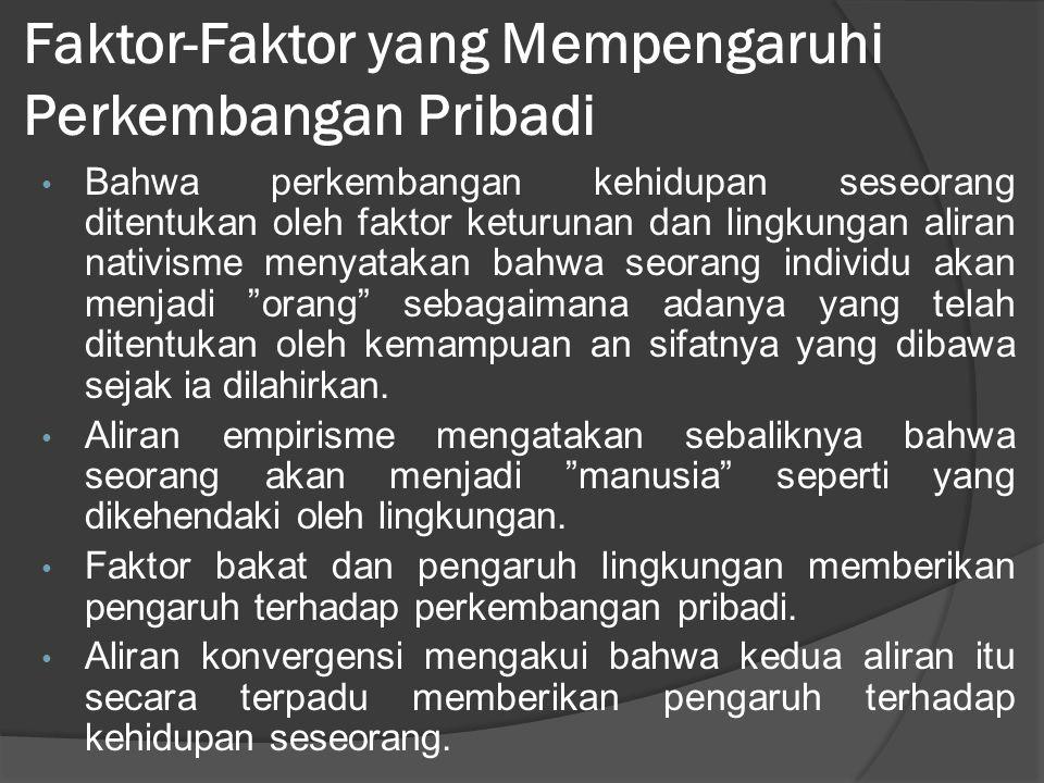 Faktor-Faktor yang Mempengaruhi Perkembangan Pribadi