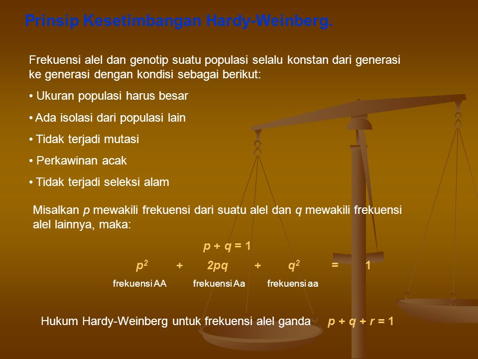 Prinsip Kesetimbangan Hardy-Weinberg.
