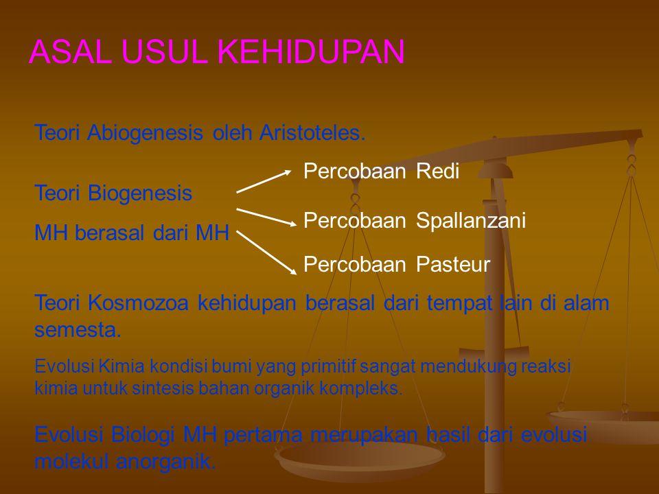 ASAL USUL KEHIDUPAN Teori Abiogenesis oleh Aristoteles. Percobaan Redi