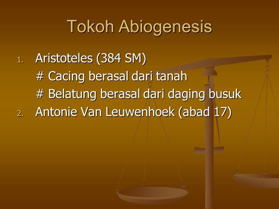 Tokoh Abiogenesis Aristoteles (384 SM) # Cacing berasal dari tanah