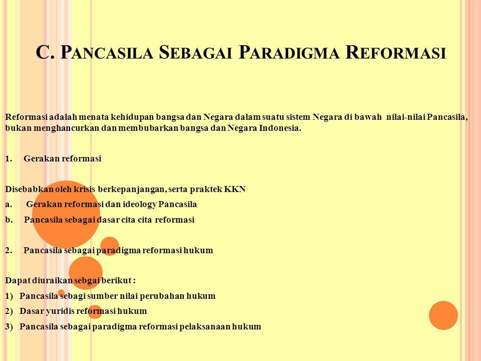 C. Pancasila Sebagai Paradigma Reformasi